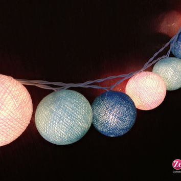 Pastel Blue tones : 20 mixed 3 Blue tones Cotton Ball String Lights Fairy lights Party  Decor Wedding Garden Spa and Holiday Lighting