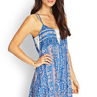 LOVE 21 Paisley Lace Cami Dress Blue/Pink
