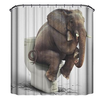 Elephant Waterproof Mildew Resistant Shower Curtain
