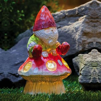 Garden Friends Forest Light Gnome & Mushroom Garden Statue with Solar Light | www.hayneedle.com
