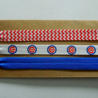 CHICAGO CUBS Elastic HEADBAND Ties Red Blue set of 3