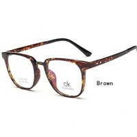 """Calvin Klein"" CK Retro Fashionable Myopia Anti-Radiation Glasses Flat Lens Eyeglasses Brown"