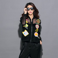 Black Mesh Patch Zippered Jacket