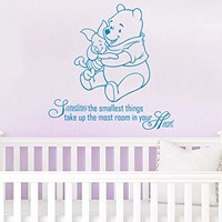 Quote Wall Decal Vinyl Sticker Decals Quotes Winnie the Pooh Quote Sometimes The Smallest ... in Your Heart Nursery Decor Baby Room Wall Decal ZX212