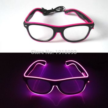 High Quality 10 Colors Choice Sound active Glowing Holiday lighting LED Glasses Rave Costume Party DJ Decor EL Sunglasses