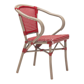 Mar Vista Outdoor Dining Chair - Set of 2 RED/WHITE