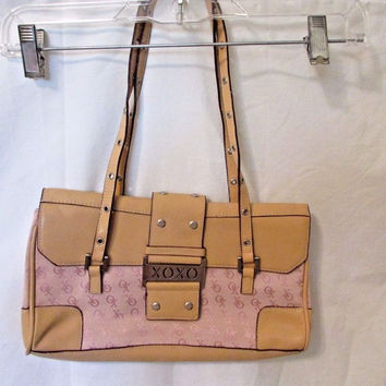 Purse Shoulder Hobo Bag Tan and Pink Embossed New