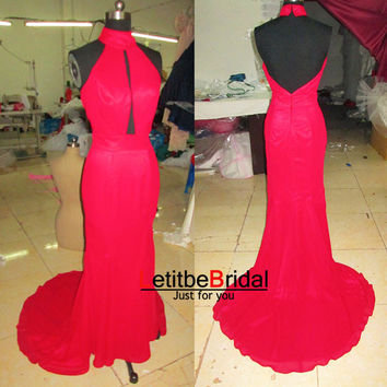 2014 New Fashion Cheap Sexy Long Backless Chiffon Red Evening Dress Gown/Prom Dress/Bridesmaid Dress/Party Dress/Plus size
