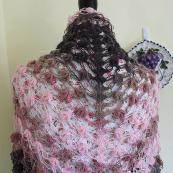 Mohair Crochet Shawl Triangle Pink And Brown Lace Bridal Flower Floral Wedding Wrap Scarf Boho Summer Wrap  All Seasons