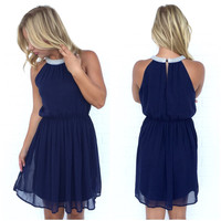 Precious As A Pearl Dress In Navy Blue