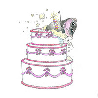 Surprise! Funny Birthday Card or Congratulations Card - Pug Birthday Card with Sparklers and a Big Cake for Celebration by InkPu