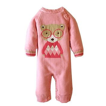 Winter Soft Cotton Thick Baby Boy Girl Rompers Newborn Long Sleeve Cute Cartoon Bear Fleece Costume Warm Toddler Jumpsuit