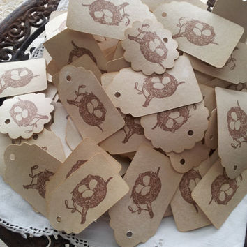 Coffee Stained Birds Nest Tags Set of 100
