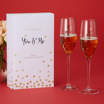 Hearts of Gold Champagne Flutes - Set of 2