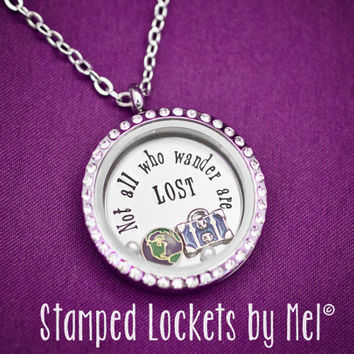 Not All Who Wander Are Lost - Hand Stamped Stainless Steel Necklace - Floating Glass Memory Locket - Couple Locket Initials Anniversary