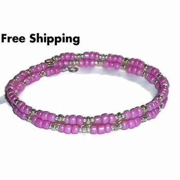 Pink Frosted Glass Beaded Artisan Crafted Stackable Wrap Bracelet (XS-S)