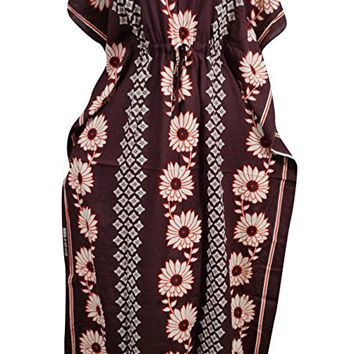 Women's Bohemian Kaftan Dress Maroon Floral Printed Kimono House Dresses XXXL