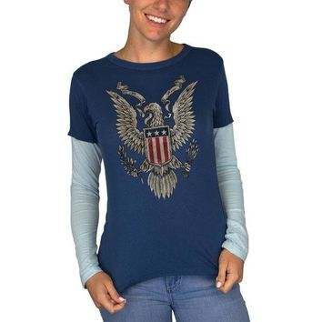 DCCKU3R 4th July Born Free Vintage American Bald Eagle Juniors Long Sleeve 2fer T-Shirt