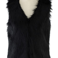 Chicwish Faux Fur Vest in Black Black