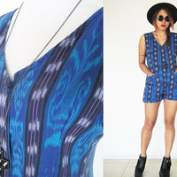 Vintage 70's romper jumpsuit playsuit native tribal ethnic blue navy southwestern navajo aztec african sleeveless summer Medium M