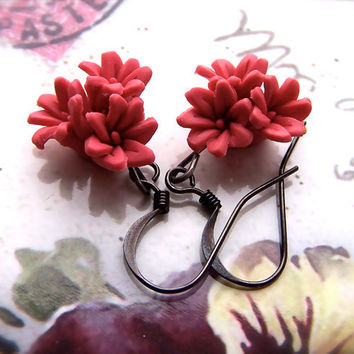 Rosy Posy Earrings, Pink Fimo Flower Beads
