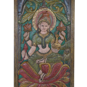 Vintage Indian Door Carved Lakshmi Hindu goddess of wealth, fortune and prosperity Wall Sculpture, Panel Zen Decor