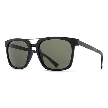 VonZipper Plimton Black Satin BKS Sunglasses, Vintage Grey Lenses