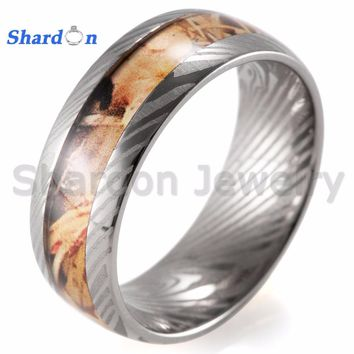 SHARDON Titanium ring with yellow camo inlay Wedding band with laser lines inner Engagement Ring for Men with free shipping.