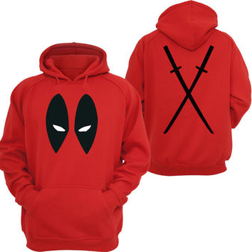 DEADPOOL Antihero Eyes Front & Back Katanas Red Hoody ADULT SIZES
