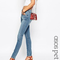 ASOS PETITE Lisbon Skinny Mid Rise Jeans in Clover Wash