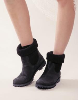 Knit and leather work boots [Frr8422] - $214 : Pixie Market, Fashion-Super-Market