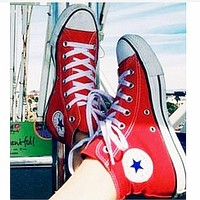 """""""Converse"""" Fashion High tops Wine red Canvas Flats Sneakers Sport Shoes Red"""
