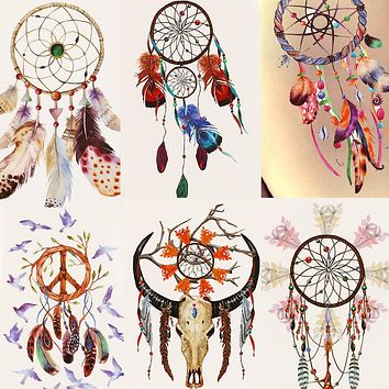One Temporary Tattoo  Dreamcatcher Colorful Animals Dogs Body Art Sexy Waterproof  For Man Woman Henna Fake Tattoo Stickers Body Art