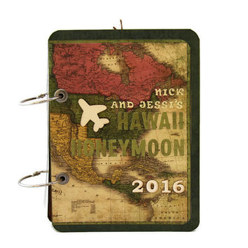 Vintage Style Hawaii Honeymoon Album, Personalized Honeymoon Travel Photobook, Travel Photo Album, Travel Journal Scrapbook, Wedding Gift