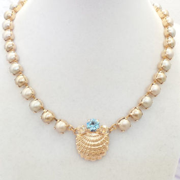 BEACH WEDDING,swarovski necklace, seashell necklace, pearl necklace, rose gold, champagne pearls, earrings,aquamarine, dksjewelrydesigns