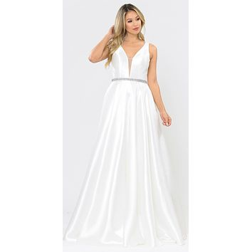 V-Neck and Back Off White Long Prom Dress with Pockets