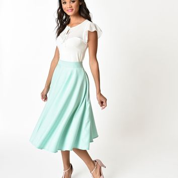 Voodoo Vixen Light Blue Sandy Full Circle Skirt