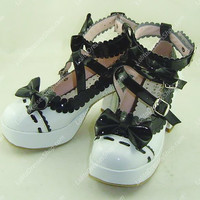 White with Black Lace High Heel PU Sweet Lolita Shoes