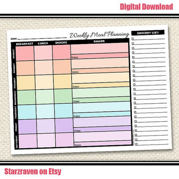 Printable Weekly Meal Planning with Grocery List - Rainbow Meal Planner - Instant Download