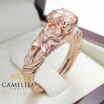 Nature Inspired Rose Gold Engagement Ring Branch Ring 14K Rose Gold Morganite Engagement Ring