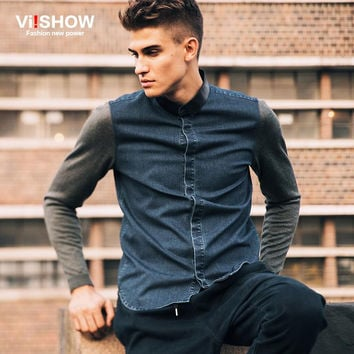Slim Fit Denim Shirt Men Denim Blue Casual Long Sleeve Shirt Men Trun Down Collar Denim Shirt For Men