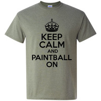 Keep Calm And Paintball ON Great PAINTBALL Graphic T Shirt Youth Kids Mens Womans Paintball Printed T Shirt All Colors And Sizes