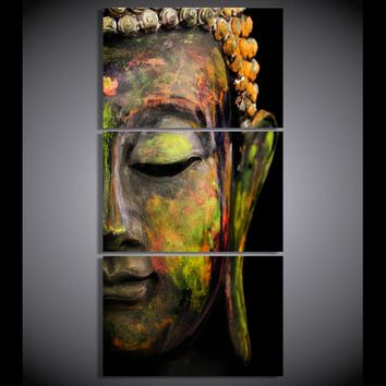 3 piece canvas art posters & prints Buddha meditation canvas painting wall pictures for living room Free shipping framed modern