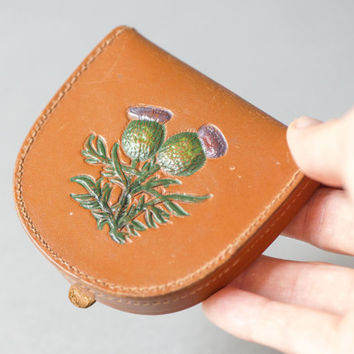Mid century genuine leather coin purse - Arden Forest tooled leather purse – tan coin purse thistle – rare folding coin wallet good leather