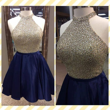 Halter Navy Blue Homecoming Dress Beading Short Prom Dress