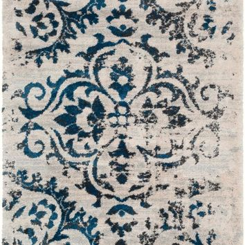 Surya Vintage Shag Medallions and Damask Blue VTS-4100 Area Rug