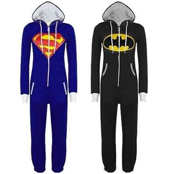 LMFHQ9 Stunning Unisex Mens And Womens Onesuit Superman & Batman Hooded Zip Front Jumpsuit