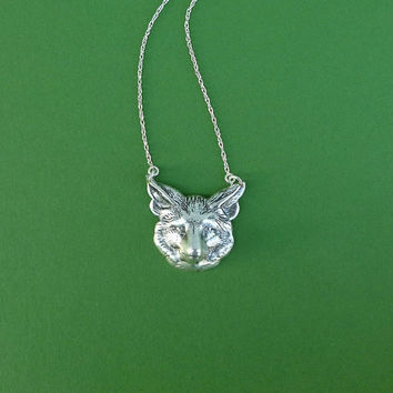 silver fox face necklace