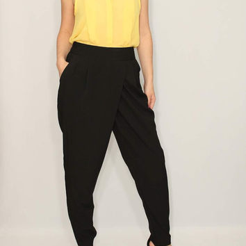 Harem Pants Wrap Pants Black Pants Office Fashion