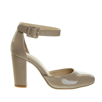 Kaili Beige By City Classified, Chunky Block Heel Pump w Comfortable Foam Padding & Ankle Strap